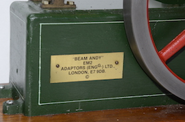 na,e plate view Beam andy  live steam beam engine for sale